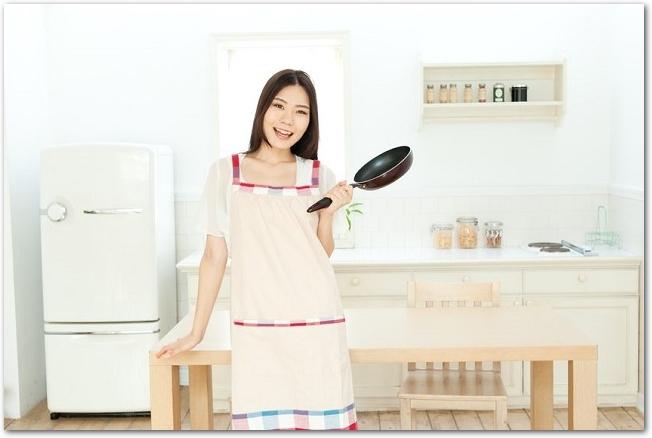 キッチンでフライパンを持つ笑顔のエプロン姿の女性